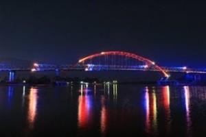 Jembatan tenggarong di malam hari